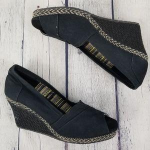 SKECHERS | memory foam peep toe wedge shoes